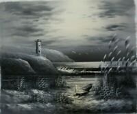 "Lighthouse Hand Painted High Quality Oil Painting on Canvas 20""x 24"""