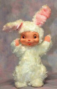"""Vintage RUSHTON Standing Easter Bunny Rabbit 10-1/2"""" Plush Rubber Face sweet!"""