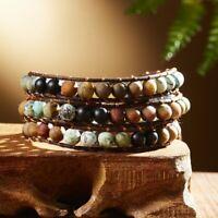 Fashion Natural stone Leather Wrap Bracelets Handmade Retro Weaving knot Gifts