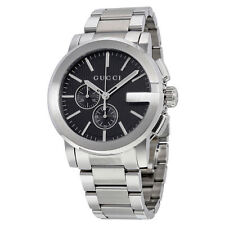 ac16c406f92 New Gucci G-Chrono Chronograph Black Dial Stainless Steel YA101204 Mens  Watch