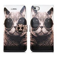 Design Leather Wallet Book Slot Fone Protect Case for Apple iPhone 5 5g & SE Cat With Glasses - Shades Pussycat Kitten Bobcat