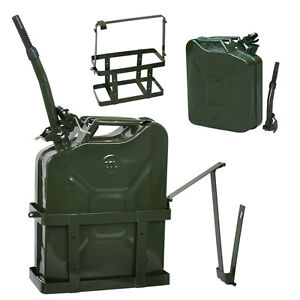 5 Gallon 20L Jerry Can Fuel Steel Tank Military Green w/ Holder Backup New
