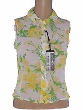 cristina gavioli camicia blusa donna bianco floreale made italy taglia 42 m