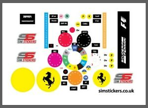 F1 thrustmaster sim stickers for Playstaion/ Xbox & PC. Assetto Corsa iracing