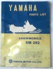 1972 YAMAHA SNOWMOBILE SM 292 PARTS BOOK MANUAL ORIGINAL