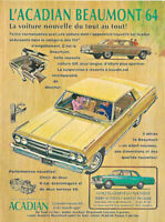 1964 GENERAL MOTORS ACADIAN BEAUMONT  AUTOMOBILE ORIGINAL AD IN FRENCH