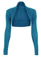 NEU langärmlig einfarbig Damen Schulterjacke Bolero Viskose Jerseytop Größe