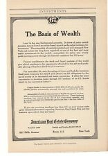 1914 The Basis of Wealth - American Real Estate Company Advertisement