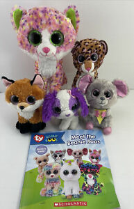 5 x Ty Beanie Boos *Sophie *Slick *Patches *Squeaker & Unused Sticker Book.