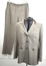 Kasper Womens Size 16 2 Piece Striped Pant Suit Flat Front Pants Button Blazer