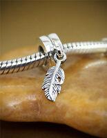 Genuine 925 sterling silver bead charm angel wings feather fits Bracelets dangle