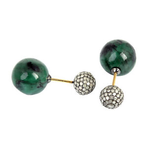 1.9ct Pave Diamond Emerald 18kt Gold 925 Sterling Silver Tunnel Earrings Jewelry