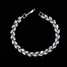 Exquisite 925 Silver 7 Color AAA+ Zircon Small Leaf Design Women Bracelet Cuff