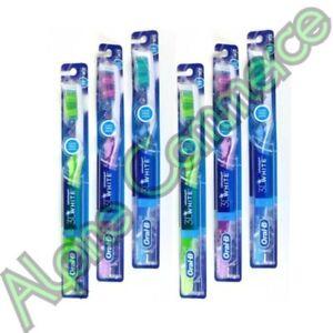 *6-Pack* Oral-B 3D White Advantage Vivid Toothbrush Assorted Colors Medium