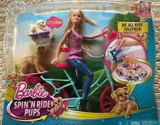 2014 Barbie Spin 'N Ride Pups Doll & Puppy Figures Bike Mattel Toy Cld94 New