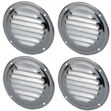 4 x Round Stainless Steel Wave Louvre Vent, Caravan, Boat, RV, Cupboard, 152 mm
