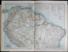"1900 ""Times"" Grande Antica Mappa-Sud America del Nord INSET Galapagos Islands"