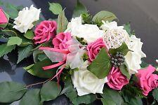 Excl. Autoschmuck Rose pink-creme, Hochzeit, Braut  Neu