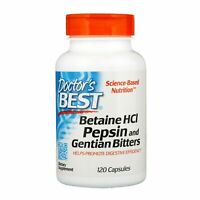 Doctor's Best, Betaine HCL Pepsin & Gentian Bitters, 120 Capsules