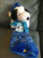PEANUTS SNOOPY CHRISTMAS STOCKING BLUE LIGHT UP LINUS & LUCY SONG NEW Musical