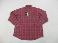 NEW Red Head Button Up Shirt Adult Extra Large Red Blue Plaid Long Sleeve Mens