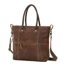 Button & Stitches Genuine Leather Drop Handle Bag with Shoulder Stap Zip Pocket