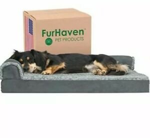 Furhaven Pet Dog Bed - Deluxe Orthopedic Two-Tone Plush and Suede L Shaped Ch...