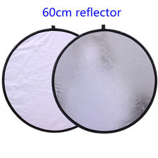 60cm 2 in 1 White/Silver Collapsible Reflector Light Disc Photo Photography