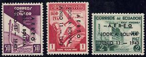 1943 Ecuador SC# C105-C107 - Visit of Pres. Eurique Peneranda of Bolivia - M-H