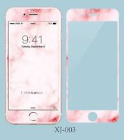 Pink Marble Grain 3D Tempered Glass Screen Protector for iPhone 6 6S 7 7P 8 Plus