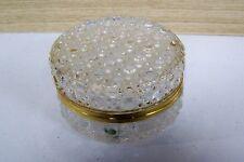 Lovely Vintage French Glass Round Hinged Glass Jewelry Casket Trinket Powder Box