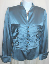KAY UNGER Blue Silk Satin Jacket Sz 10 Ruched Midriff Silver Filagree Buttons