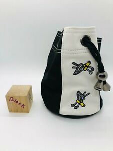 Winged Foot Golf Club White Black Leather Nylon Circle Drawstring Pouch Tote Bag