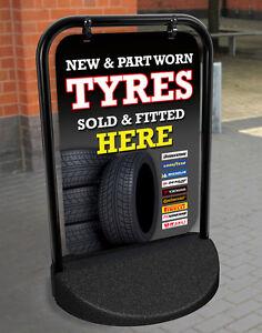NEW & PART WORN TYRES PAVEMENT SIGN ADVERTISING GARAGE DISPLAY Michelin, Pirelli