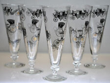"""VINTAGE MINT SET OF 5 LIBBEY """"CARRAIGE & BUGGY"""" PILSNER BAR GLASSES"""