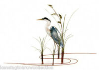 WALL ART - GREAT BLUE HERON METAL WALL SCULPTURE - LEFT FACING - NAUTICAL DECOR