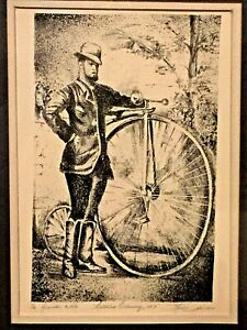 ANTIQUE LIMITED 1/16 LITHOGRAPH OF FIRST BICYCLE 1883 SIGNED FRAMED
