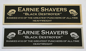 Earnie Shaver nameplate for signed boxing gloves trunks photo
