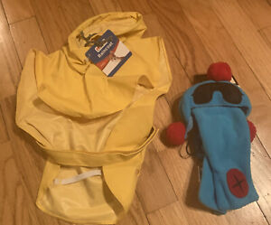 Petco Raincoat for Dogs Small & Dog Hat & Scarf Set yellow coat blue & Red Hat