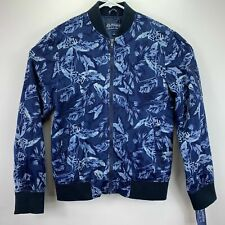 American Rag Mens Floral Ace Bomber Jacket Blue S