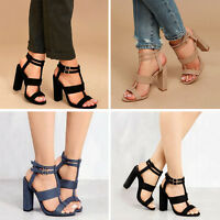 Womens Ladies Mid High Block Heel Sandals Gladiator Summer Strappy Shoes Sizes