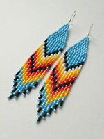 Native American earrings Long blue beaded earrings Southwest seed bead