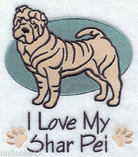 SHAR PEI I LOVE MY SET OF 2 BATH HAND TOWELS EMBROIDERED  BY LAURA