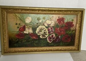 Antique Victorian Oil on Canvas Floral Painting in Gold Gilt Ornate Frame