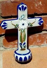 CERAMIC HOLY WATER HOLDER CLAY FLORAL BUTTERFLY HAND MADE MEXICO FREE SHIPPING