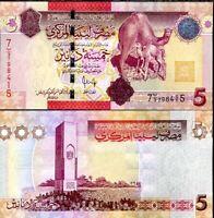 LIBYA 5 DINARS 2009 P 72 UNC