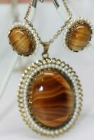 West German Agate Tiger Eye Lucite Ornate Pendant & Clip Earrings w/Faux Pearls