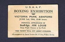 1944 World Heavyweight Champion Sgt JOE LOUIS WW II UK boxing exhibition ticket