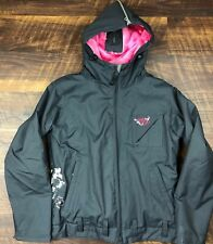 Roxy 5000 Gray Pink Pinstriped Fur Lined size S Nylon Ski Snow Hooded Jacket