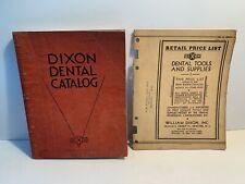 1931 Dixon Dental Tool & Supply Catalog w/ Retail Pricing List, Newark NJ